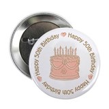 "Happy 50th Birthday Cake 2.25"" Button (100 pack)"