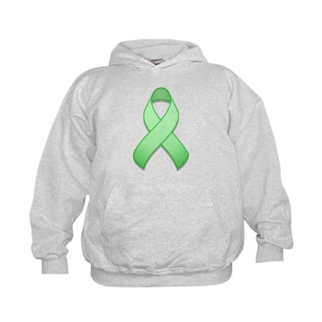 Light Green Awareness Ribbon Kids Hoodie