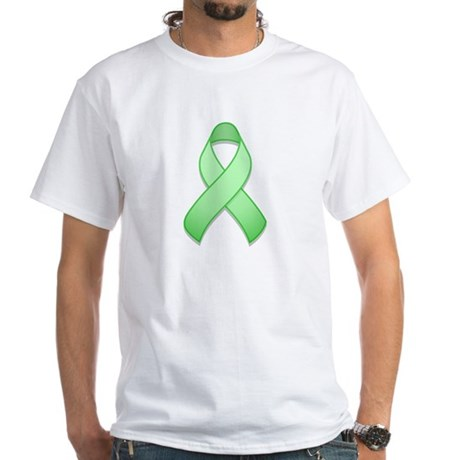 Light Green Awareness Ribbon White T-Shirt
