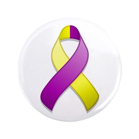 "Purple and Yellow Awareness Ribbon 3.5"" Button"