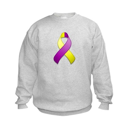Purple and Yellow Awareness Ribbon Kids Sweatshirt