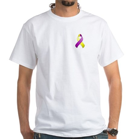 Purple and Yellow Awareness Ribbon White T-Shirt