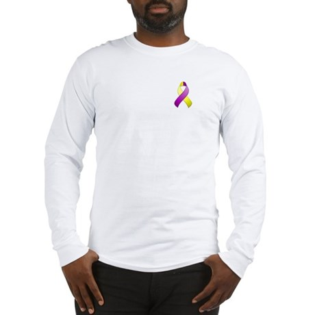 Purple and Yellow Awareness Ribbon Long Sleeve T-S