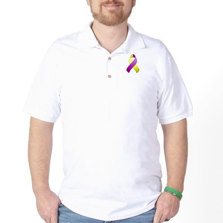 Purple and Yellow Awareness Ribbon Golf Shirt