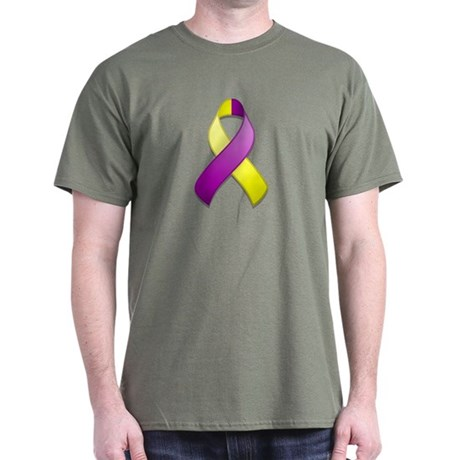 Purple and Yellow Awareness Ribbon Dark T-Shirt