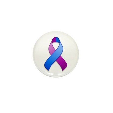 Blue and Purple Awareness Ribbon Mini Button