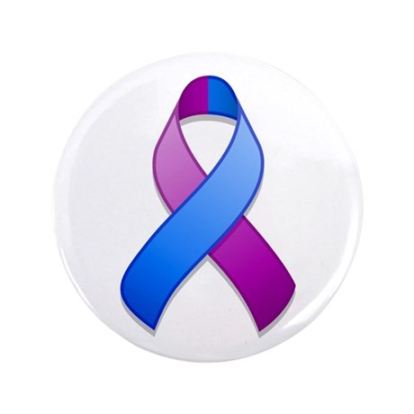 "Blue and Purple Awareness Ribbon 3.5"" Button"