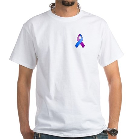 Blue and Purple Awareness Ribbon White T-Shirt