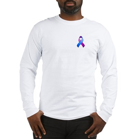 Blue and Purple Awareness Ribbon Long Sleeve T-Shi