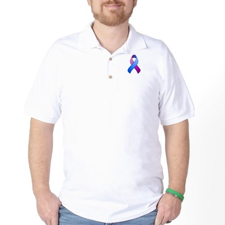 Blue and Purple Awareness Ribbon Golf Shirt
