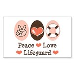 Peace Love Lifeguard Lifeguarding Sticker 100 Pk