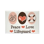 Peace Love Lifeguard Lifeguarding Rectangle Magnet