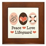 Peace Love Lifeguard Lifeguarding Framed Tile
