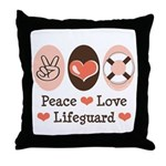 Peace Love Lifeguard Lifeguarding Throw Pillow