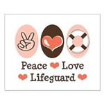 Peace Love Lifeguard Lifeguarding Small Poster