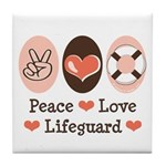 Peace Love Lifeguard Lifeguarding Tile Coaster
