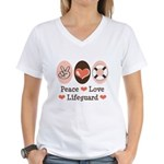 Peace Love Lifeguard Lifeguarding Women's V-Neck T