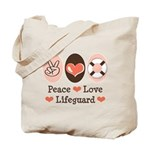 Peace Love Lifeguard Lifeguarding Tote Bag