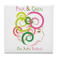 Pink & Green On My Mind Tile Coaster