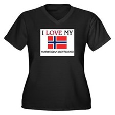 I Love My Norwegian Boyfriend Women's Plus Size V-