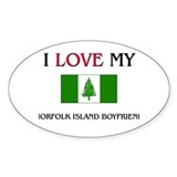 I Love My Norfolk Island Boyfriend Oval Decal