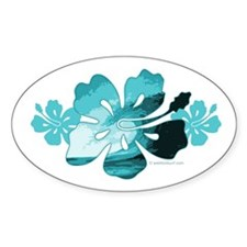 Hibiscus Surf - Oval Sticker (50 pk)