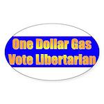 1 Dollar Gas Oval Sticker (10 pk)