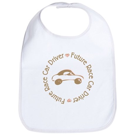 Future Race Car Driver Cartoon Girl Bib