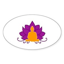 Lotus Flower & Buddha Oval Decal