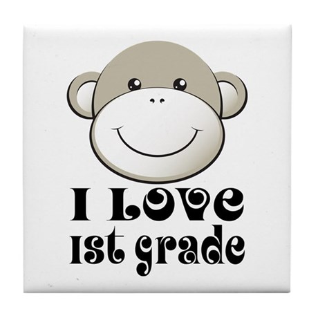 I Love First Grade Tile Coaster
