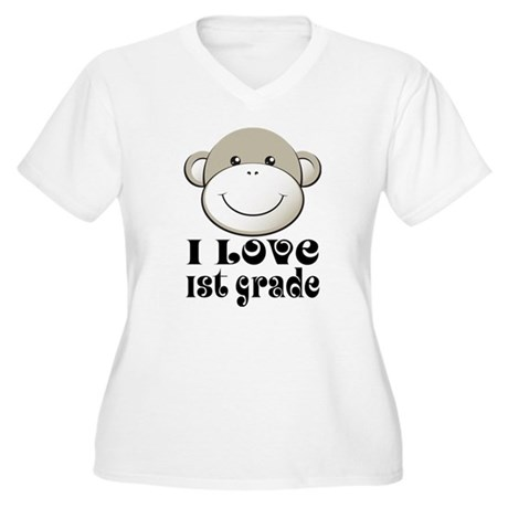 I Love First Grade Women's Plus Size V-Neck T-Shir