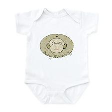 baby monkey w swirley background Body Suit