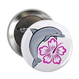"Dolphin Hibiscus Pink 2.25"" Button (100 pack)"