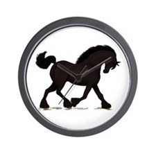 Friesian Black Horse Wall Clock