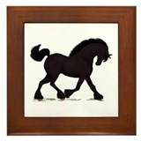 Friesian Black Horse Framed Tile