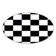 Checkered Flag Black/White Euro Oval Decal