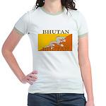 Bhutan Flag Jr. Ringer T-Shirt