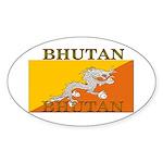 Bhutan Flag Oval Sticker