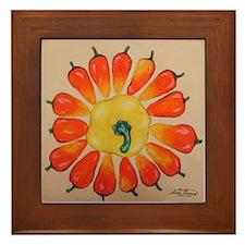 Hot Pepper Sunflower Framed Tile