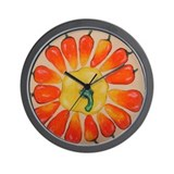 Hot Pepper Sunflower Wall Clock