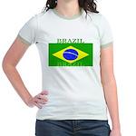 Brazil Brazilian Flag Jr. Ringer T-Shirt