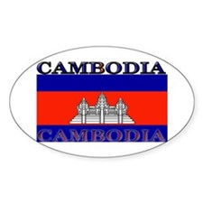 Cambodia Cambodian Flag Oval Decal