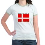 Denmark Danish Flag Jr. Ringer T-Shirt