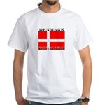 Denmark Danish Flag White T-Shirt