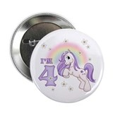 "Pretty Pony 4th Birthday 2.25"" Button (100 pack)"