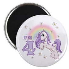 Pretty Pony 4th Birthday Magnet