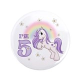 "Pretty Pony 5th Birthday 3.5"" Button (100 pack)"