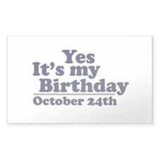 October 24th Birthday Rectangle Sticker 50 pk)