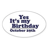 October 29th Birthday Oval Sticker (50 pk)
