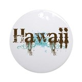 Hawaii Grunge Ornament (Round)